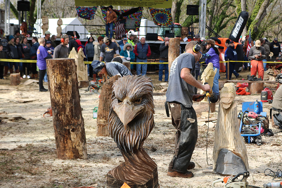Chaptacular chainsaw carving event i love rv